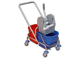 EURO - wózek do sprzątania, z wyciskarką, chromowany